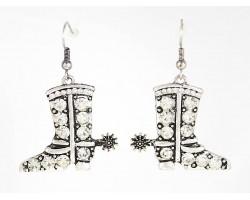 Silver Crystal Cowboy Boot Hook Earrings