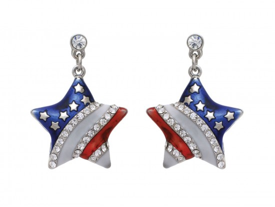 Red White Blue US Flag Star Crystal Post Earrings