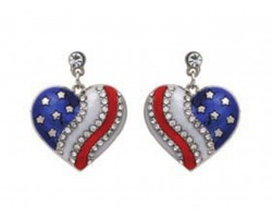 Red White Blue US Flag Heart Crystal Post Earrings