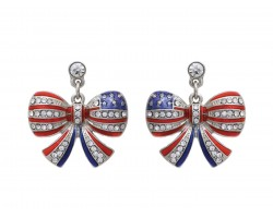 Red White Blue US Flag Bow Crystal Post Earrings