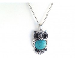 Silver Dyed Turq Cute Fat Tummy Owl Necklace
