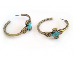 Gold Hammered Distressed Turquoise Cross Hoop Earrings