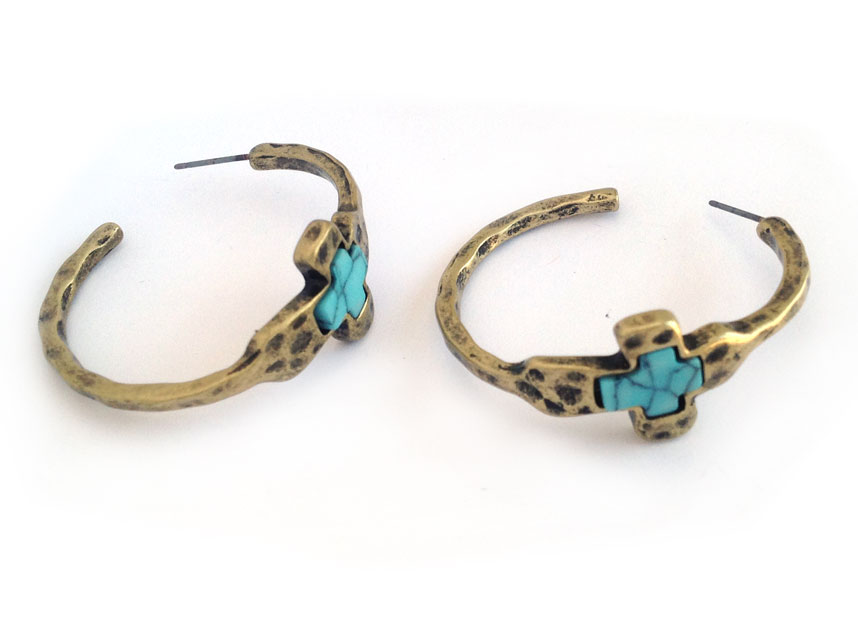 Gold Hammered Distressed Turquoise Cross Hoop Earrings RM AGP