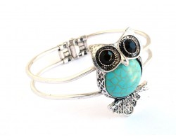 Turquoise Dyed Fat Tummy Owl Hinged Cuff Bangle