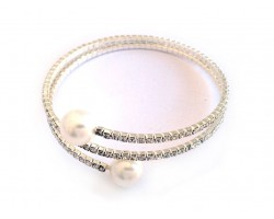 Silver Crystal Rope Pearl Ends Memory Wire Bracelet