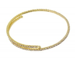 Gold Crystal Single Line Memory Wire Bracelet