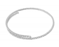 Silver Crystal Single Line Memory Wire Bracelet