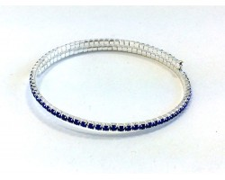 Silver Blue Crystal Single Line Memory Wire Bracelet