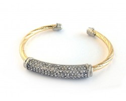 Gold Silver Twist Pave Crystal Wire Cuff