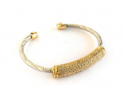 Silver Gold Twist Pave Crystal Wire Cuff