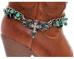 Silver Turquoise Stone Crystal Winged Cross Shoe Boot Jewelry