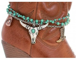 Turquoise Beads Longhorn Head Shoe Boot Jewelry