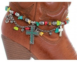 Silver Multi Turq Beaded Cross Chain Shoe Boot Jewelry