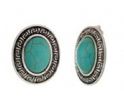 Turquoise Dyed Stone Greek Key Bezel Clip Earrings
