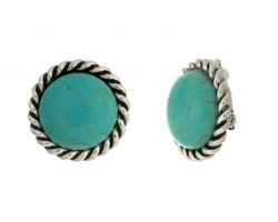 Turquoise Dyed Round Cabachon Twist Bezel Clip Earrings