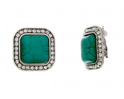 Turquoise Square Cryst Bezel Clip Earrings