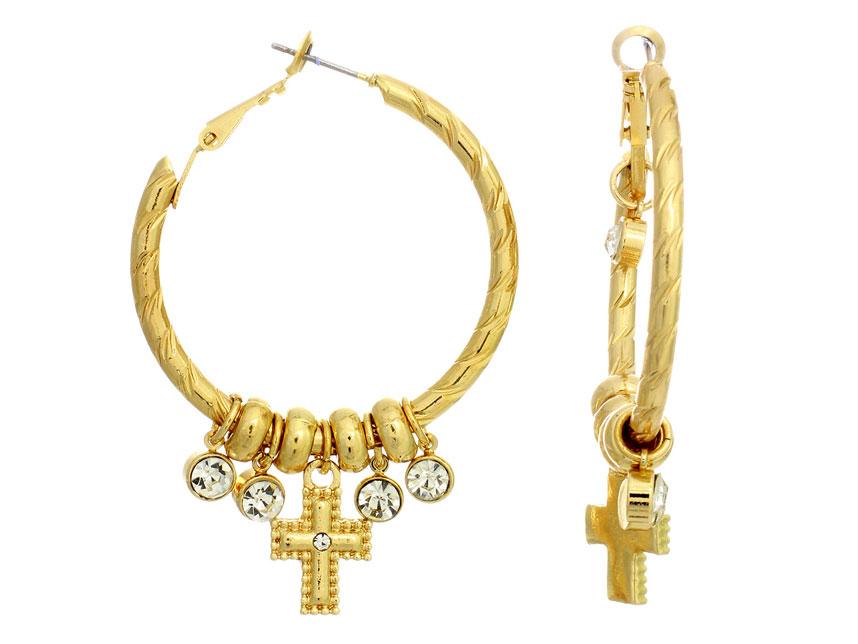 Cross Crystal Charm Post Clip Hoop Earrings