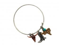 Tri-Tone Boot Steer Head Texas Charm Bracelet