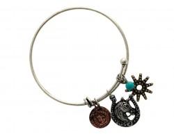Tri-Color Horse Head Western Wire Cuff Bracelet