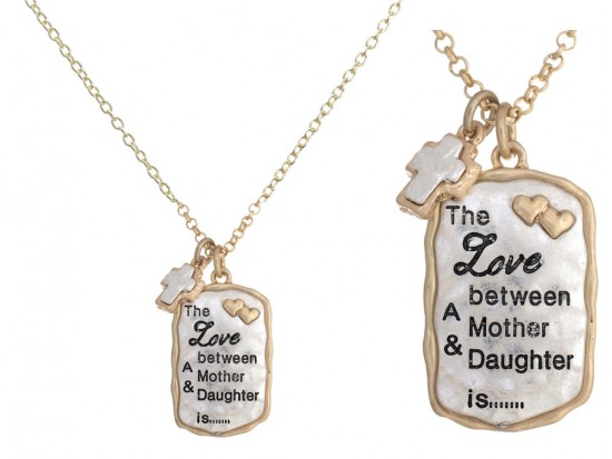 Silver Gold Love Mother Daughter Necklace Set