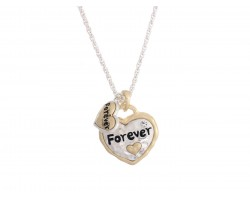 Gold Silver Heart Always Forever Necklace
