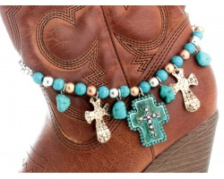 2-Tone Turquoise Crystal Cross Gold Crosses Boot Jewelry