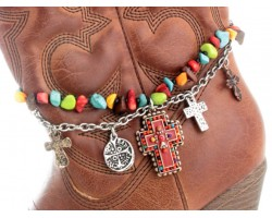 Red Cross Multi Stones Chain Cross Boot Jewelry