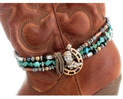 Gold Crystal Boot Turquoise Strand Boot Jewelry