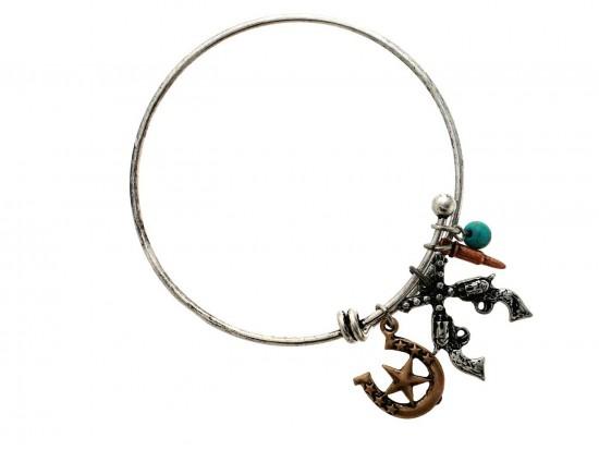 Tri Color Wire Charm Bracelet Guns Star Bullet