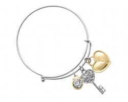 """Two-Tone """"Love Mom"""" Key Charm Wire Bracelet"""