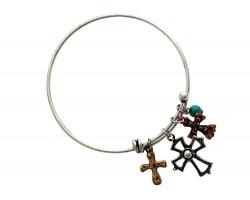 Tri Color Crosses Wire Charm Bracelet