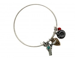 Turq Red Wire Cuff LONGHORN Charm Bracelet