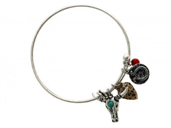 Turq Red Wire Cuff LONGHORN Charm Bracelet