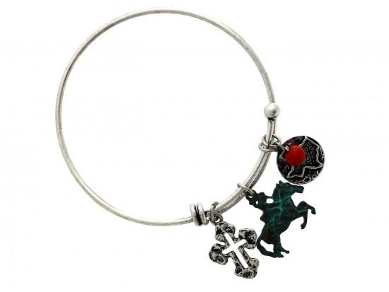 2-Tone Horse Texas Cross Wire Charm Bracelet