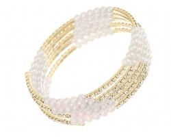 Pearl Gold Clear Crystal Memory Bracelet