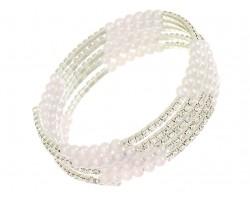 Pearl Silver Clear Crystal Memory Bracelet