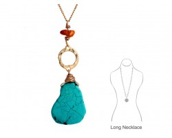 Turquoise Dyed Slab Wire Wrap Gold Necklace Set