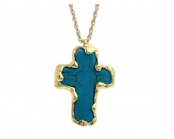 Turquoise Dyed Stone Cross Gold Edged Necklace