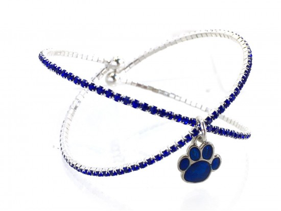 Blue Paw Crystal X-Crossed Memory Wire Bracelet
