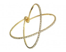 Gold X-Shaped Crystal Memory Wire Bracelet