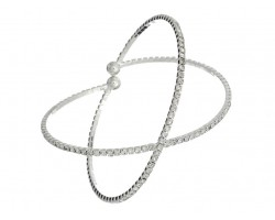 Silver X-Shaped Crystal Memory Wire Bracelet