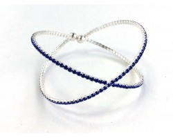 Silver X-Shaped Blue Crystal Memory Wire Bracelet