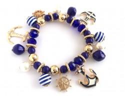 Navy White Striped Sea Theme Charm Bracelet