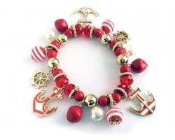 Red White Striped Sea Theme Charm Bracelet