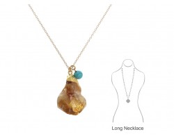 Citrine Quartz Pendant Gold Chain Necklace