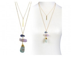Green Adventurine Amethyst Sodalite Chain Necklace