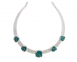 Turquoise 5 Stone Cuff Choker Necklace