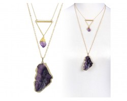 Amethyst Geode Slab Nugget Gold Chain Necklace