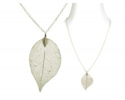 Gold Acid Etched Real Leaf Chain Necklace