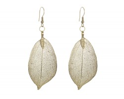 Gold Dipped Acid Etched Real Leaf Earrings Hook